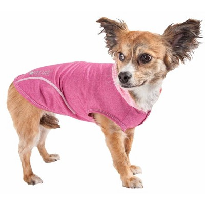 Pet Life Active Pull-Rover Premium 4-Way Stretch Two-Toned Sleeveless Hoodie Dog and Cat T-Shirt - Pink