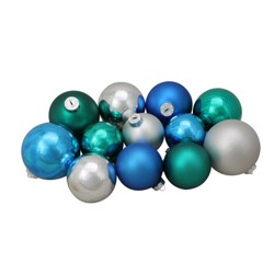 Northlight 72ct Turquoise Blue Shiny and Matte Glass Ball Christmas Ornaments 4""