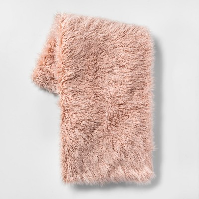 Mongolian Faux Fur Throw Blanket Blush - Project 62™