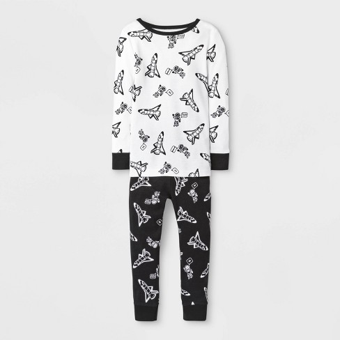 Toddler Boys' Rocket Pajama Set - Cat & Jack™ Black/White - image 1 of 1
