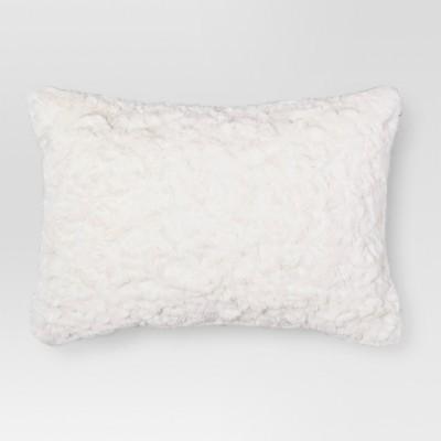 White Faux Fur Lumbar Pillow - Threshold™