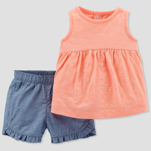 Baby Girls' 2pc Top and Shorts Set - Just One You® made by carter's Pink/Gray 9M - image 1 of 1