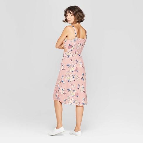 175476e1bd8c Women s Floral Print Square Neck Strappy Button Front Midi Dress -  Xhilaration™ Rose   Target