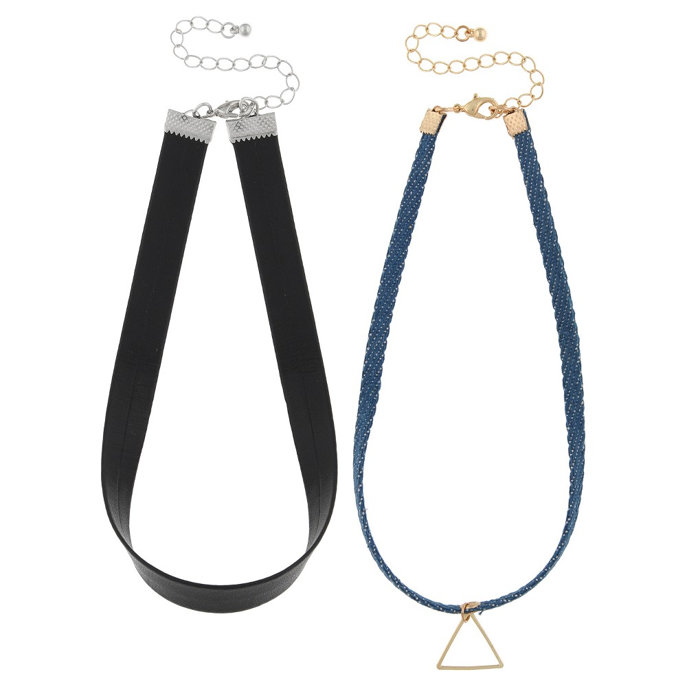 Women's Necklace Duo Simulated Leather and Denim Choker with Open Triangle - Blue