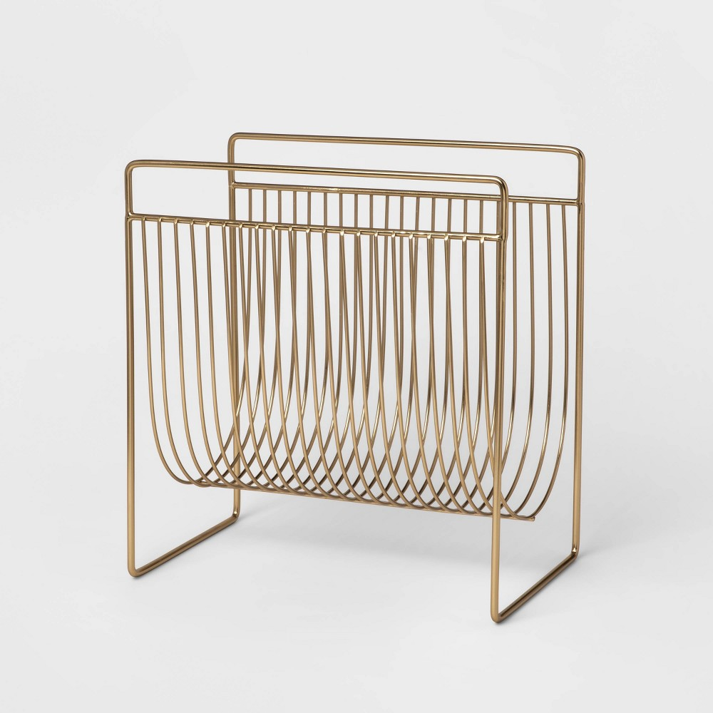 """Image of """"14"""""""" x 13.4"""""""" Wire Magazine Holder Gold - Project 62"""""""
