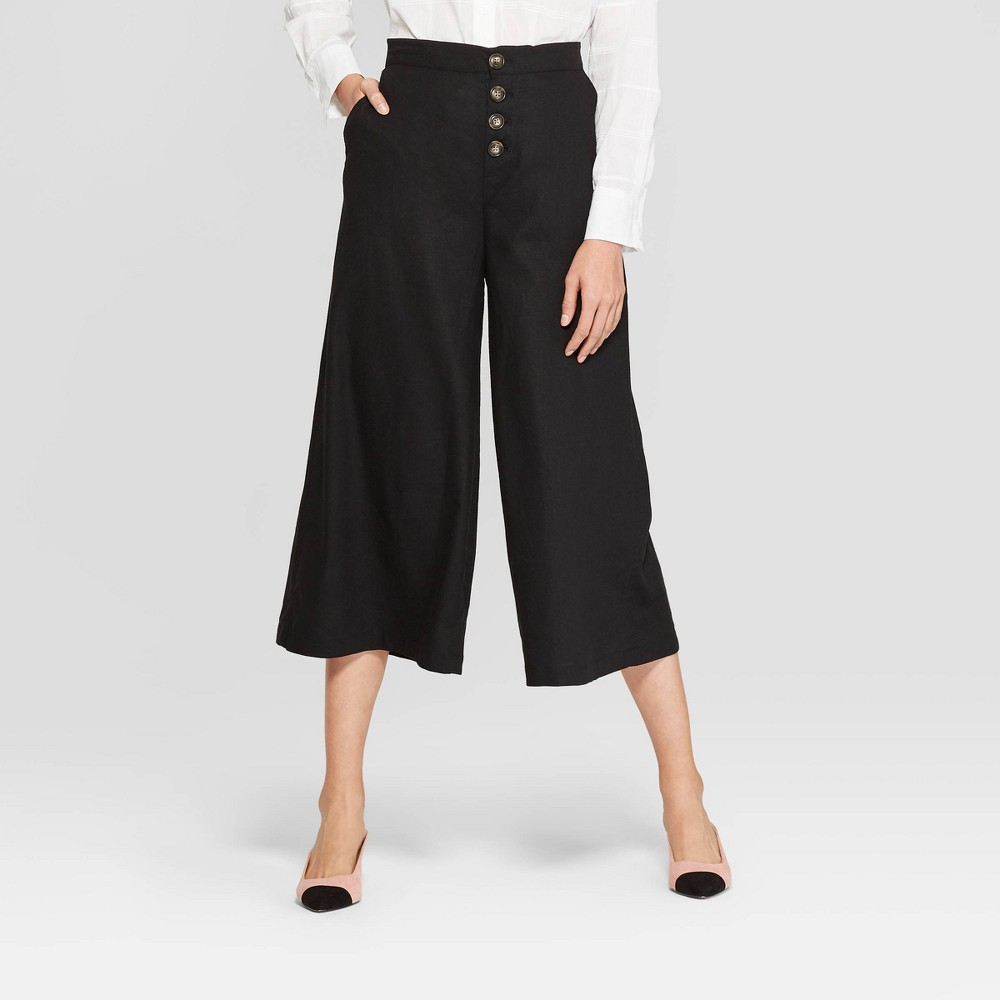 Women's Button Front Wide Leg Palazzo Pants - Who What Wear Black 14