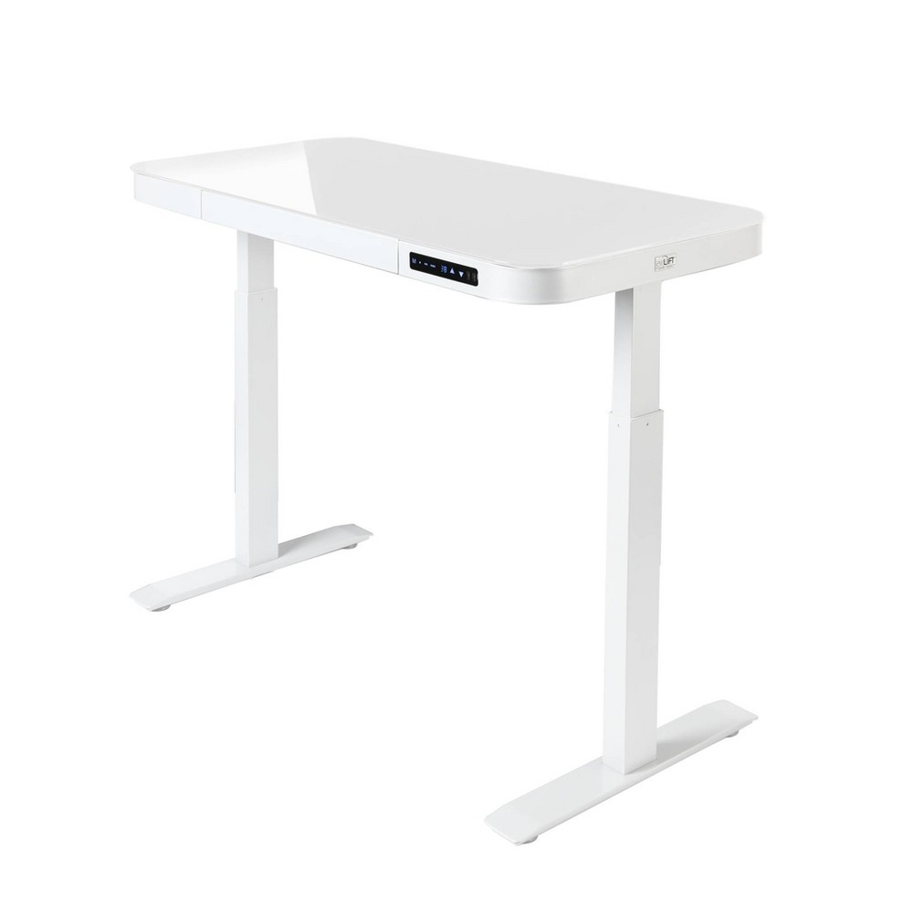 "Image of ""47"""" Tempered Glass Electric Height Adjustable Sit/Stand Desk with 2 USB Ports and Drawer White - Seville Classics"""