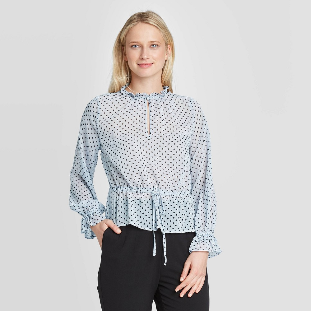 Women's Polka Dot Long Sleeve Ruffle Detail Drawstring Blouse - Who What Wear Blue S was $29.99 now $20.99 (30.0% off)