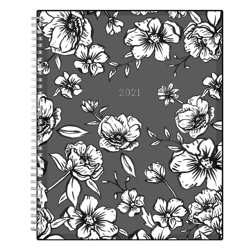 2021 Planner 8 5 34 X 11 34 Clear Plastic Cover Weekly Monthly Wirebound Wild Blooms Black 38 White Blue Sky