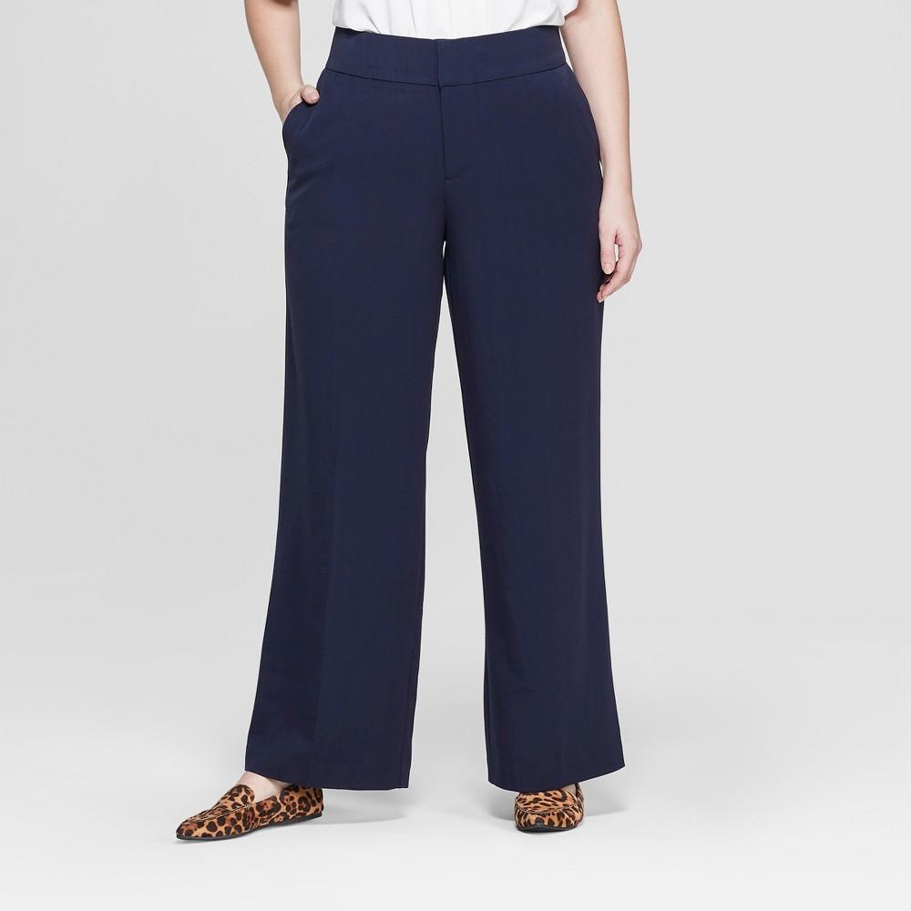 Women's Plus Size Wide Leg Trouser Pants - Ava & Viv Navy (Blue) 22W