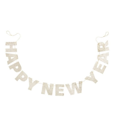 "80"" ""Happy New Year"" Paper Garland Gold - Spritz™ - image 1 of 1"