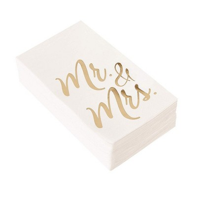 """Juvale 50-Pack Mr and Mrs Gold Foil White Disposable Paper Napkins 4x8"""", Wedding Anniversary Party Supplies"""