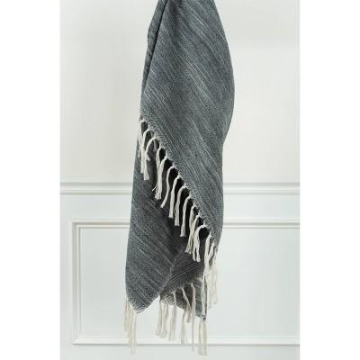 "50""x60"" Stripe Throw Blanket Dark Gray - Rizzy Home"
