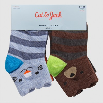 Baby Boys' 6pk Critter Low Cut Dress Socks - Cat & Jack™ 6-12M