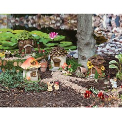 "Evergreen Garden New Creative Outdoor-Safe Mini Garden Polystone Fairy Houses, Set of 4-5.5"" W x 5.75"" D x 6.75"" H"