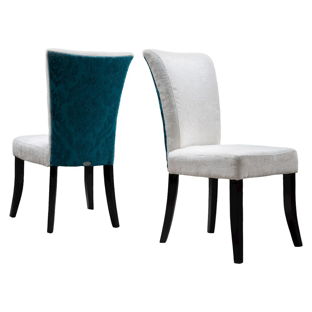 Stanford Fabric Dining Chairs - Ivory and Teal (Blue) (Set of 2) - Christopher Knight Home