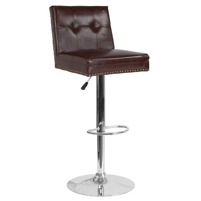 Emma and Oliver Tufted Back Adjustable Height Barstool with Accent Nail Trim