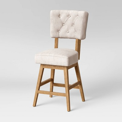 Fremont Tufted Open Back Swivel Counter Height Barstool Linen - Threshold™