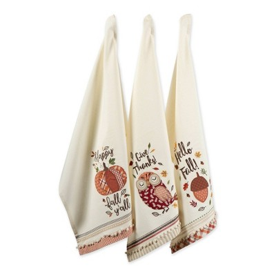 3pk Assorted Welcome Fall Embellished Dishtowels Beige - Design Imports