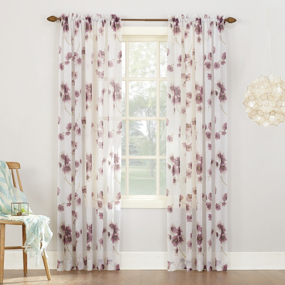 Carolyn Floral Print Crushed Sheer Voile Curtain Panel Lavender (Purple) 51