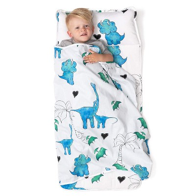 JumpOff Jo Toddler Nap Mat - Children's Sleeping Bag with Removable Pillow for Preschool, Daycare, and Sleepovers - 43 x 21 Inches - Tiny Dinosaurs