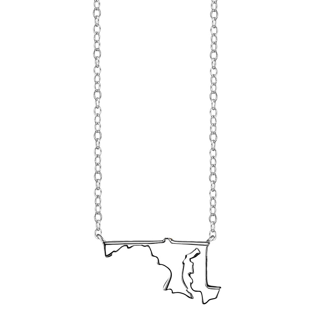 Footnotes Sterling Silver Maryland Station Necklace - Silver (18.6), Girl's