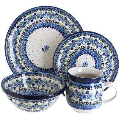 Blue Rose Polish Pottery Eliza 16 Piece Dinnerware Set