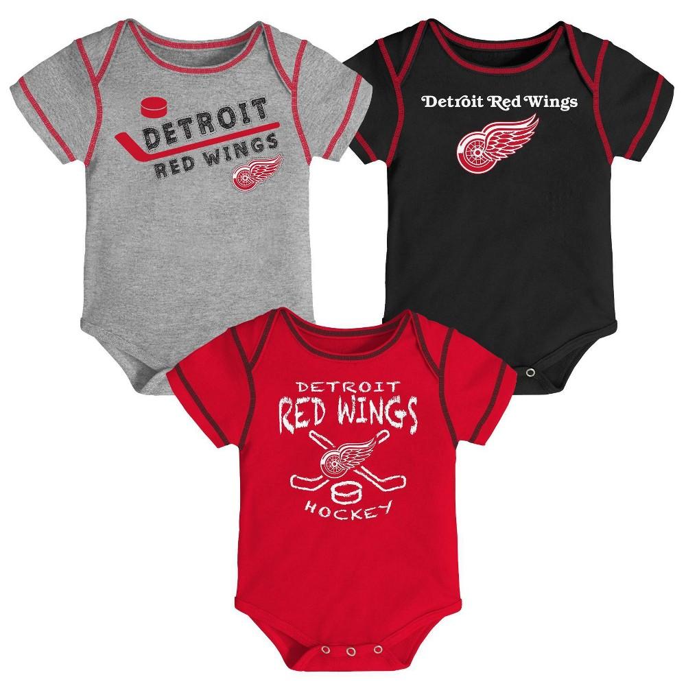 Nhl Detroit Red Wings Baby Boys 39 Game Winner Bodysuit Set 3pk 6 9m