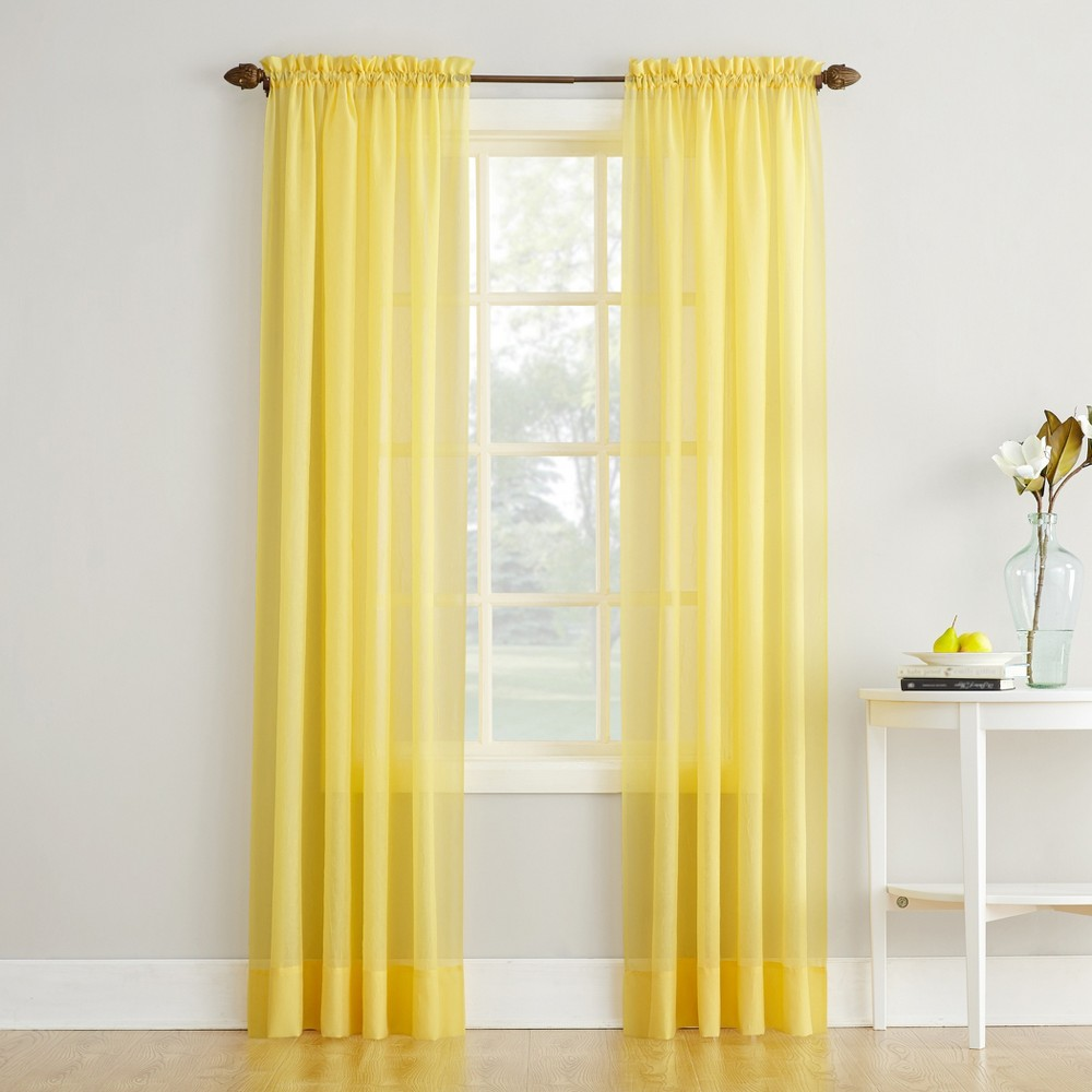 Erica Crushed Sheer Voile Rod Pocket Curtain Panel Yellow 51