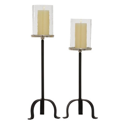 Set of 2 Modern Glass/Metal Candle Holders with Tripod Base - Olivia & May