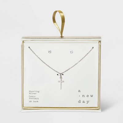 Sterling Silver with Cubic Zirconia Studs and Cross Pendant Set- A New Day™ Silver