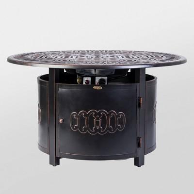 Dynasty Round Cast Aluminum LPG Fire Pit - Antique Bronze - Fire Sense