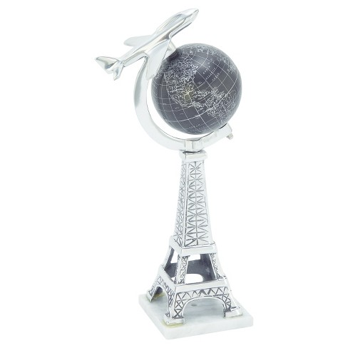 "Nautical World Globe with Airplane and Eiffel Tower (15"") - Olivia & May - image 1 of 2"