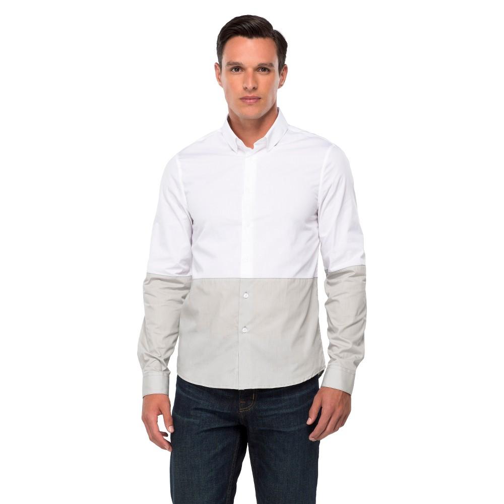Men's Wd·ny Black Slim Fit Dress Shirt - Gray/White L, White/Gray