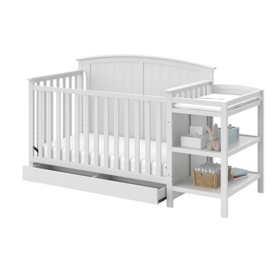 Storkcraft Steveston 4-in-1 Convertible Crib and Changer with Drawer - White