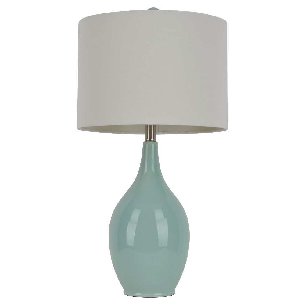 Image of Ceramic Table Lamp - 27H - Blue/White