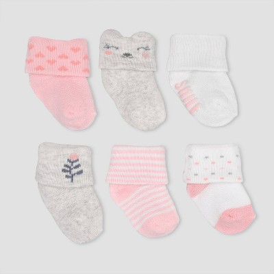 Baby Girls' 6pk Folded Cuff Alt Terry Socks - Just One You® made by carter's Pink 0-3M