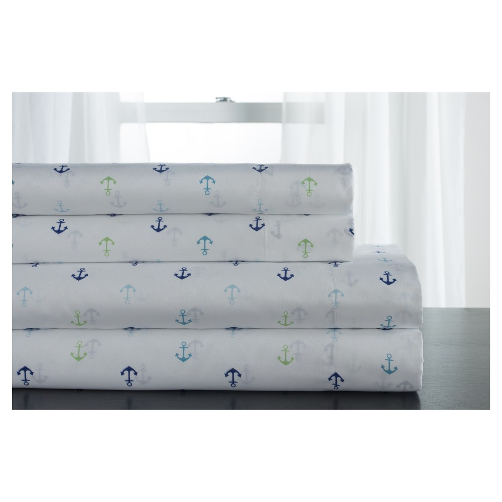 Full Microfiber Coastal Printed Sheet Set Anchors Blue Elite Home Products
