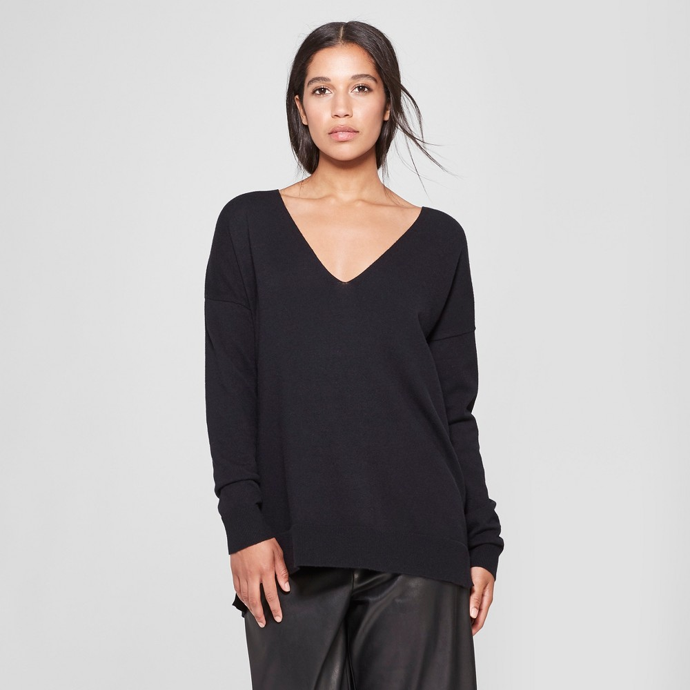 Women's Long Sleeve V-Neck Pullover Sweater - Prologue Black XS