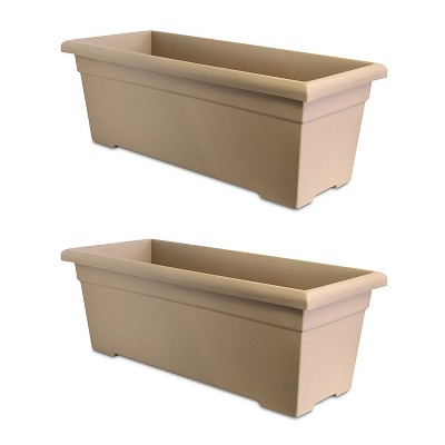 HC Companies ROP28000A34 28-Inch Plastic Romana Deck Planter, Sandstone (2 Pack)