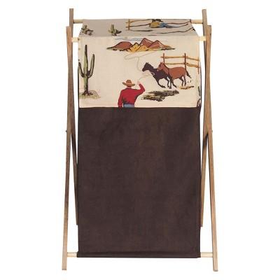 Sweet Jojo Designs Wild West Cowboy Laundry Hamper- Chocolate-Red-Cream-Blue-Green-Gold