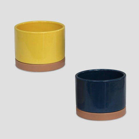 2pk Ceramic Planters Yellow & Navy - Bullseye's Playground™ - image 1 of 1