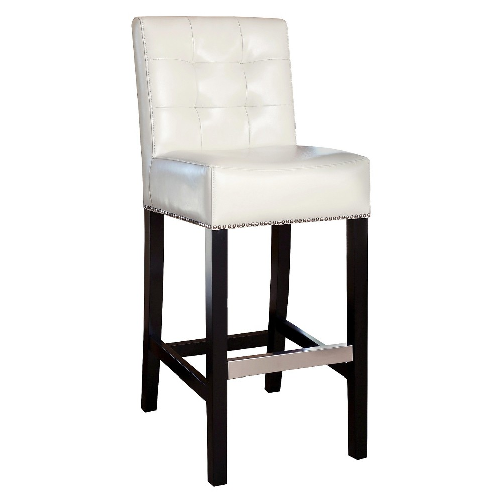 30 Linden Tufted Leather Barstool Ivory - Abbyson Living, Off White