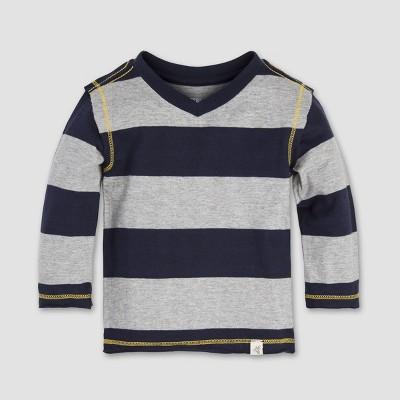 Burt's Bees Baby Boys' Rugby Stripe High V-Neck Long Sleeve Shirt - Midnight 12M