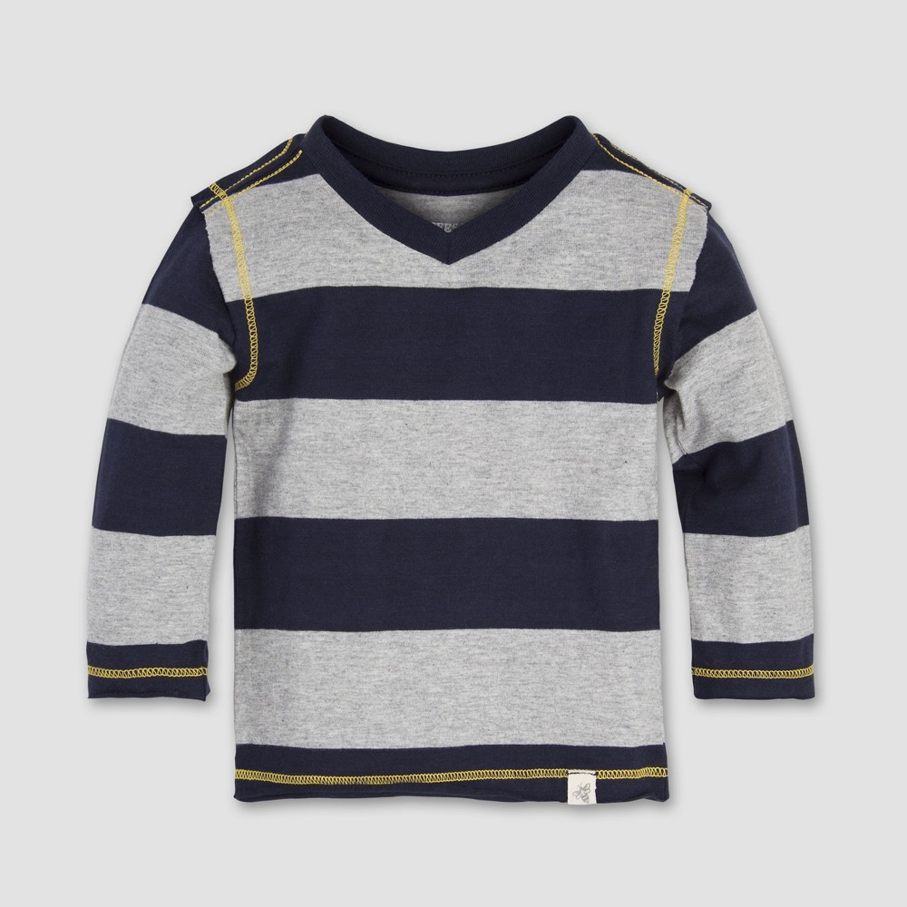 Burt's Bees Baby Boys' Rugby Stripe High V-Neck Long Sleeve Shirt - Midnight 24M, Blue