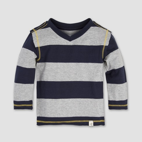Burt's Bees Baby® Baby Boys' Rugby Stripe High V-Neck Long Sleeve Shirt - Midnight - image 1 of 2