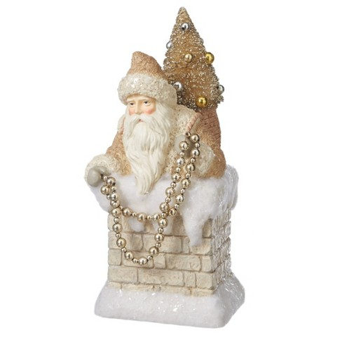 """Diva At Home 11.5"""" Beige and Gold Colored Santa Claus in Chimney Christmas Figure - image 1 of 1"""
