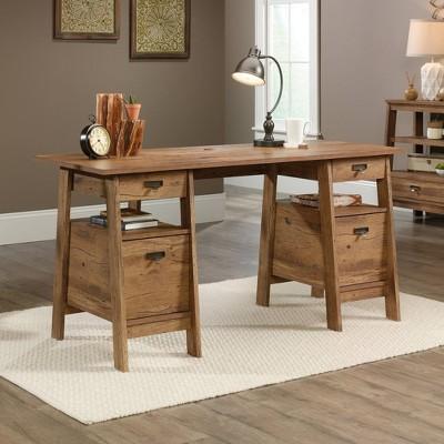 Superbe Trestle Executive Desk Vintage Oak   Sauder
