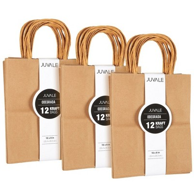 Medium Kraft Paper Gift Bags with Handles (Brown, 8 x 10 Inches, 36 Count)