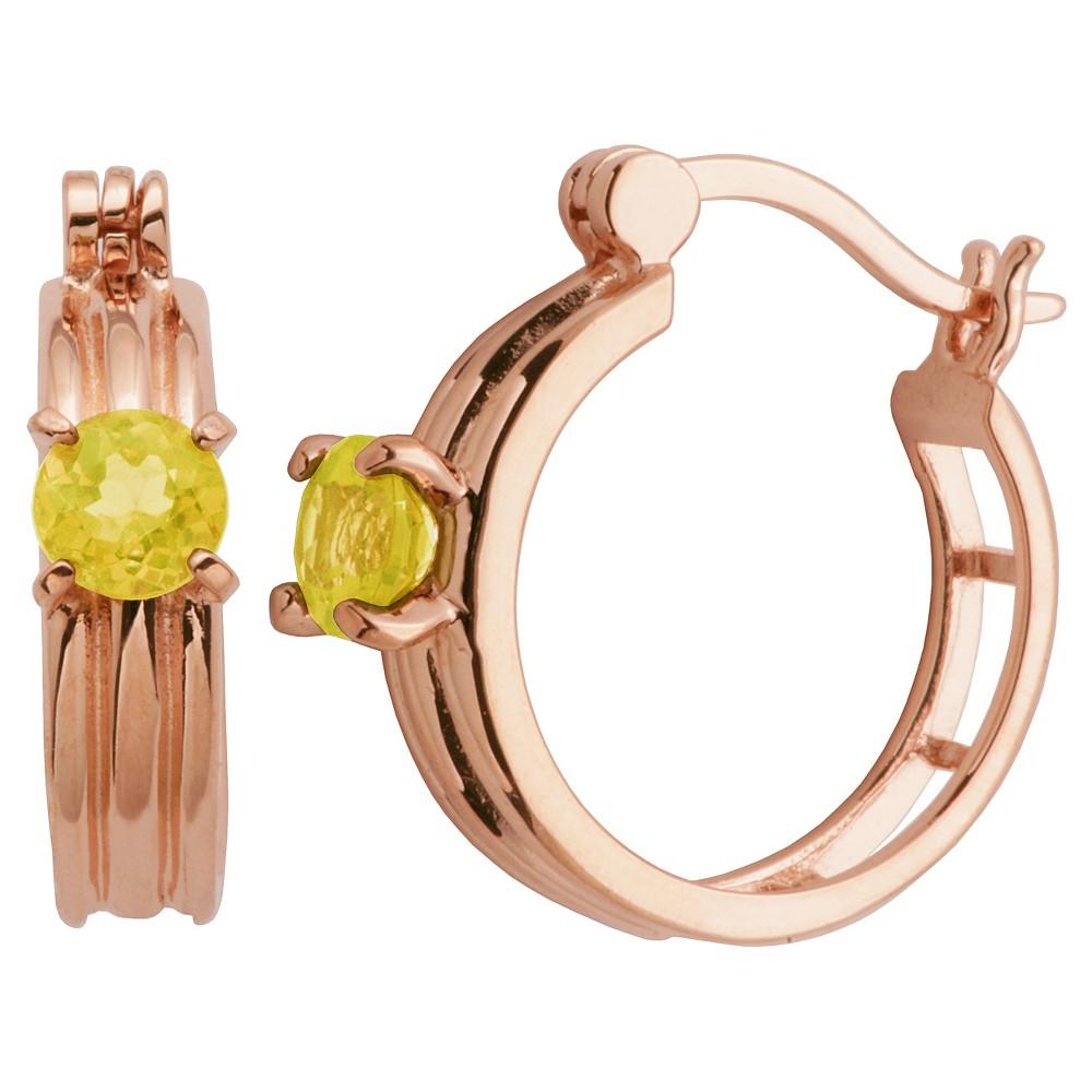 14k Rose Gold Plated Sterling Silver Genuine Citrine Hoop Earrings, Girl's